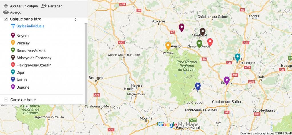 carte itinéraire Bourgogne
