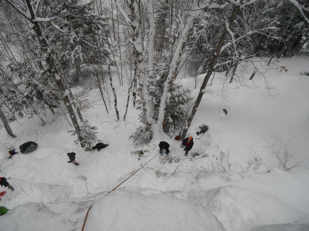 escalade de glace d'en haut