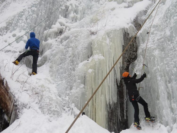 escalade de glace voie