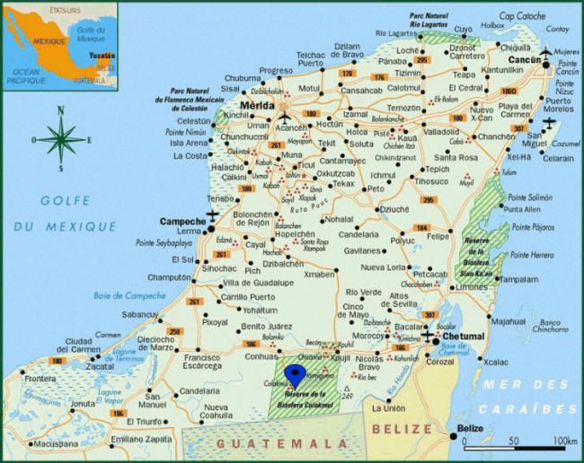 Carte Yucatan Quintana Roo.Informations Pratiques Pour Se Rendre Et Visiter Calakmul