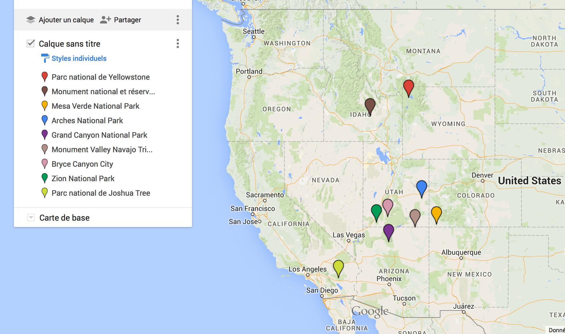carte ouest americain avec parcs nationaux 8 parcs nationaux de l'ouest des USA à visiter| Blog voyage