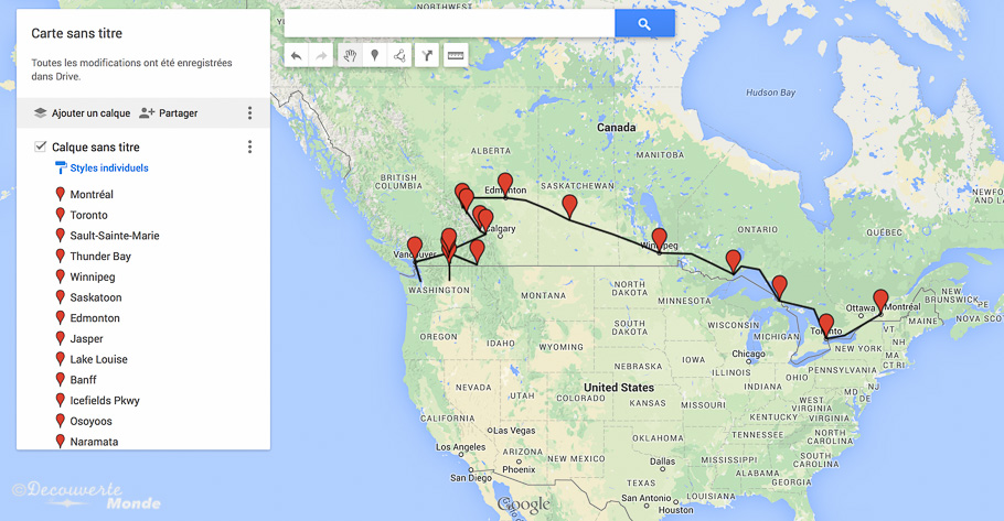 Carte Du Canada Montreal.L Ouest Canadien Mon Itineraire Et Voyage A Travers Le Canada