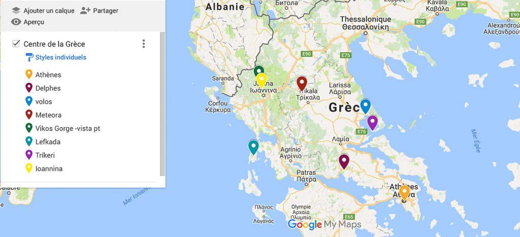 carte où aller en grèce continentale