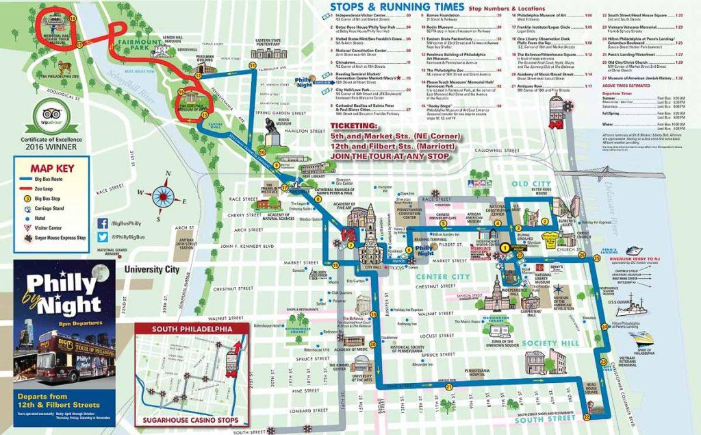 Que faire à Philadelphie et visiter en 10 coups de coeur. Ici plan du trajet du Big Bus. Retrouvez l'article ici: https://www.decouvertemonde.com/quoi-faire-a-philadelphie-visiter