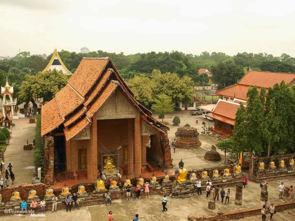 Le Wat Yai Chai Mongkon, un temple à visiter à Ayutthaya en Thaïlande. Photo tirée de mon article Ayutthaya en Thaïlande : 6 principaux temples d'Ayutthaya à voir et visiter. #ayutthaya #unesco #thailande #asie #asiedusudest #voyage #ruine #bouddhisme