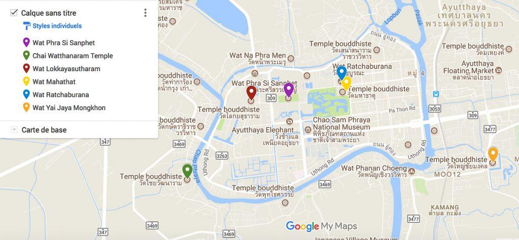 Carte des 6 temples Ayutthaya à visiter lors d'une journée. #ayutthaya #thailande #asie #asiedusudest #voyage #unesco #temple #bouddhisme