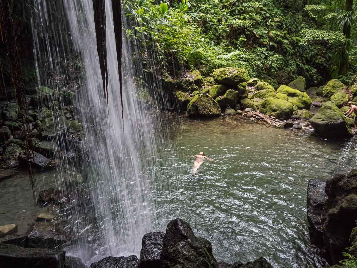 Îles des Caraïbes à visiter en 10 coups de coeur. Ici une cascade à la Dominique. Retrouvez l'article ici: https://www.decouvertemonde.com/iles-des-caraibes-a-visiter