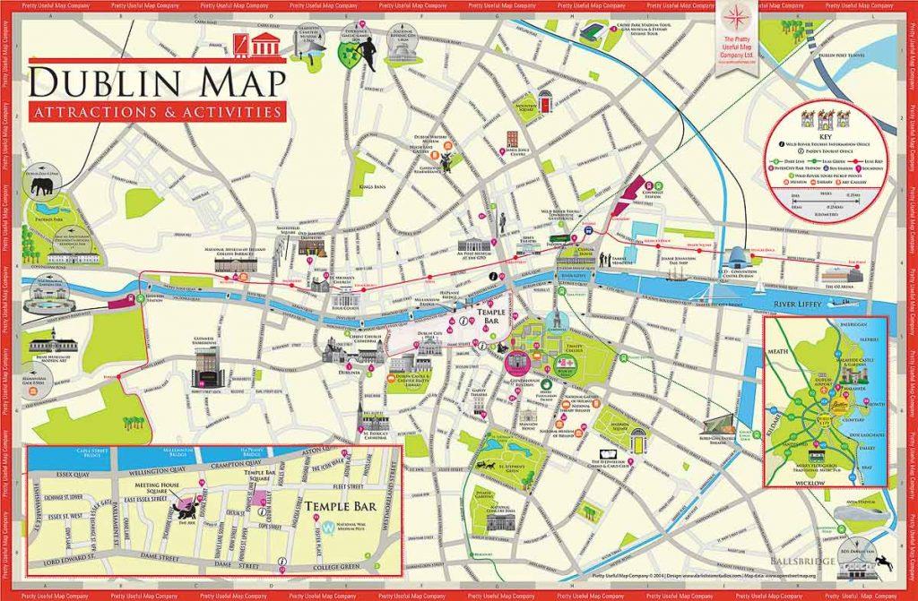 Carte pour visiter Dublin. Photo tirée de mon article Visiter Dublin en Irlande : Que voir et faire le temps d'un weekend. #irlande #dublin #europe #voyage #cartedublin