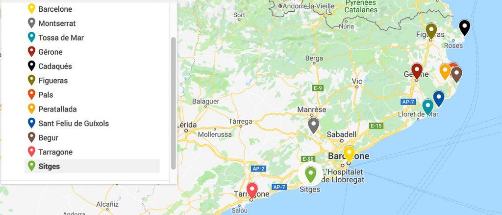 Carte de mon itinéraire en Catalogne dans mon article Visiter la Catalogne en Espagne : Que voir et que faire en 8 lieux à visiter #espagne #catalogne #europe #voyage