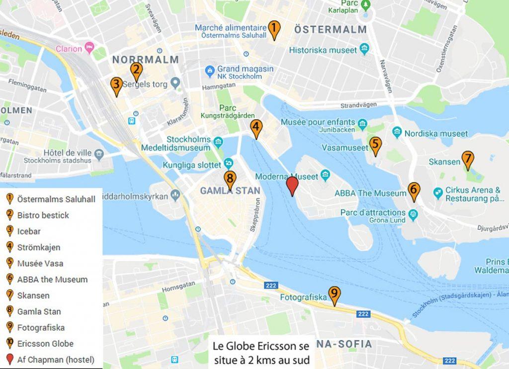 Carte des sites à visiter à Stockholm dans mon article Visiter Stockholm : Que faire à Stockholm en 10 coups de coeur #suede #stockholm #europe #voyage #scandinavie #citytrip