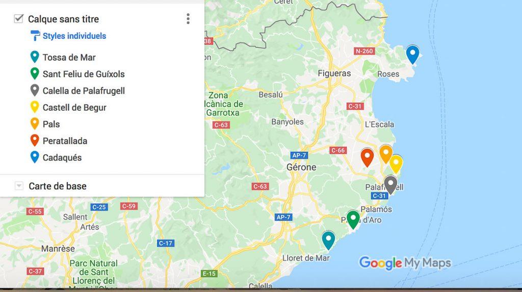 La carte sur que visiter sur la Costa Brava dans mon article Visiter la Costa Brava en Espagne : Que faire en 7 lieux à visiter #costabrava #espagne #catalogne #europe #voyage #cartecostabrava