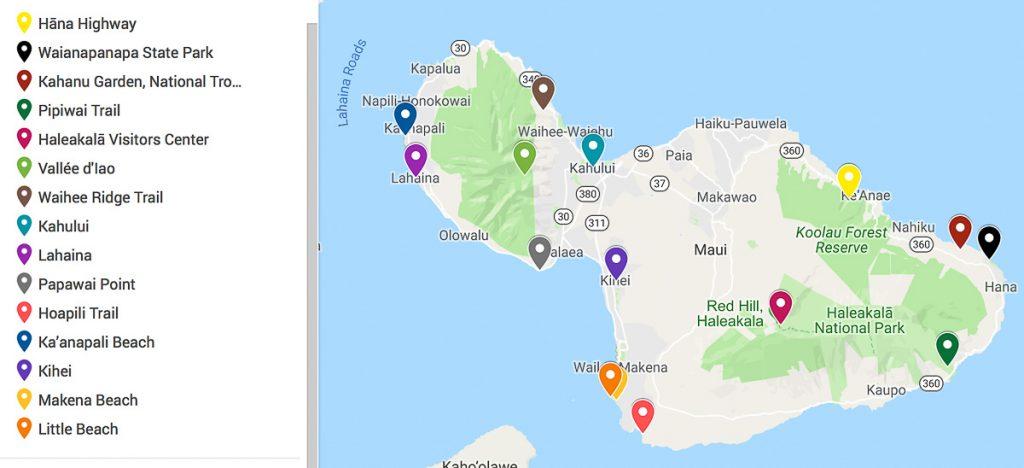 Carte de mon itinéraire road trip sur Maui à Hawaii dans mon article Maui à Hawaii : Que faire en 10 jours de road trip sur l'île de Maui #maui #hawaii #hawai #etatsunis #usa #voyage