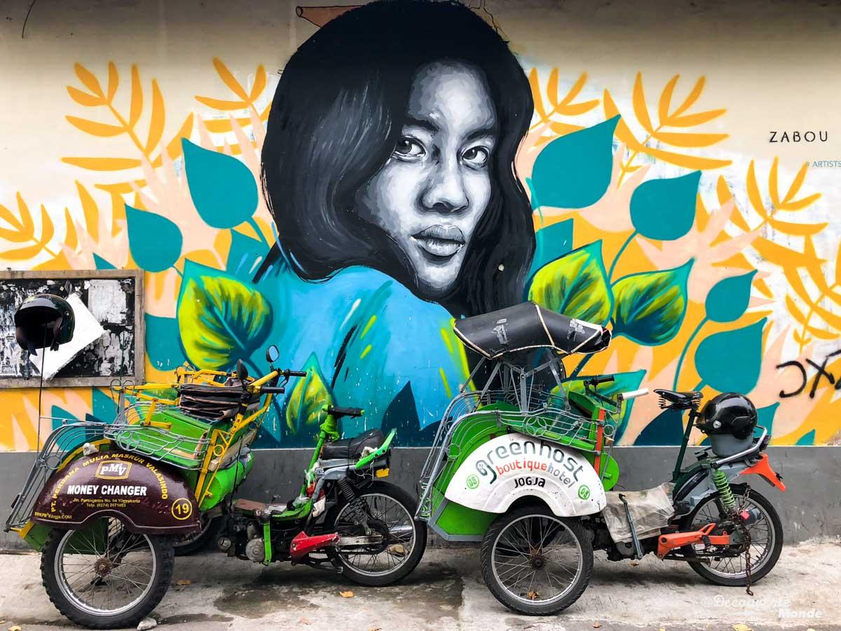 Street art à Yogyakarta à Java dans mon article Que faire à Java, voir et visiter : Mes 10 incontournables #java #indonesie #voyage #asiedusudest #asie #yogyakarta